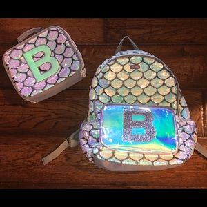 """Justice """"B"""" Mermaid Sequin Backpack & Lunch Kit"""